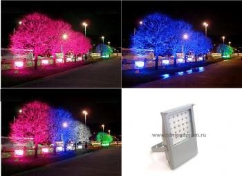 Подсветка деревьев RGB светодиодными