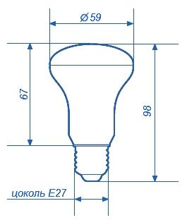 Лампа светодиодная СДЛ-E27-R63-4W c цоколем Е27
