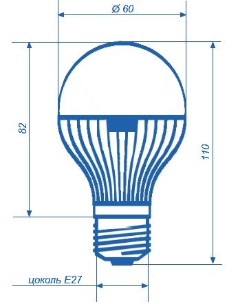 Лампа светодиодная СДЛ-E27-А60-6W с цоколем е27