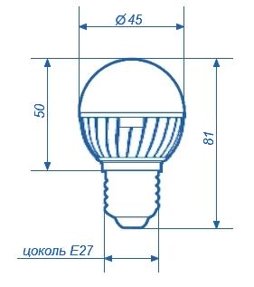 Светодиодная лампа СДЛ-E27-G45-4W с цоколем е27