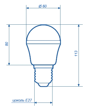 Лампа светодиодная СДЛ-E27-BL60B-SMD68S c цоколем E27