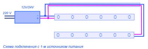 Схема подключения светодиодных лент (более двух) к одному источнику питания.