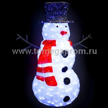 """Акриловая фигура  """"СНЕГОВИК В ШЛЯПЕ""""  LED-RL-SM1-3D     (арт.31-4677)"""