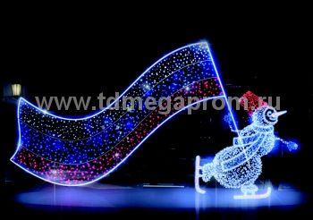 """Светодиодная конструкция большая """"Снеговик на коньках""""  LED-MKS-503 (арт.35)"""
