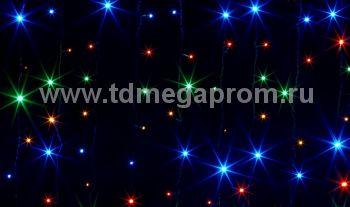 Занавес светодиодный  мерцающий  LED-PL(F)-2x1.5M-220V-RGBY  (арт.31/30-8952)