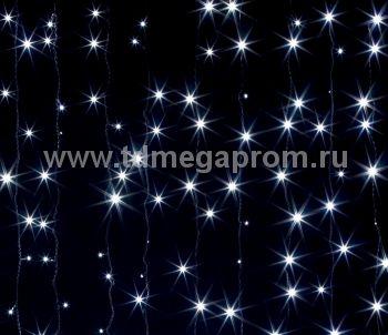 Занавес светодиодный  мерцающий  LED-PL(F)-2x3M-220V-W   (арт.31/30-5691)