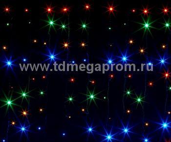 Занавес светодиодный  мерцающий  LED-PL(F)-2x3M-220V-RGBY   (арт.31/30-8953)
