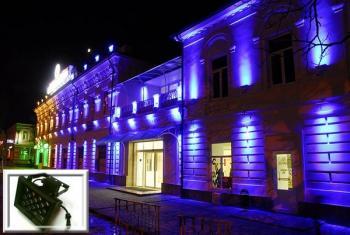 Пример цветной архитектурной подсветки