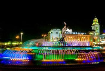 Подсветка крупного фонтанного комплекса
