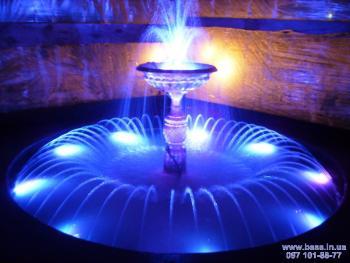 Подсветка небольшого фонтана светодиодными