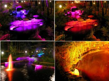 Подсветка ландшафтного водоема герметичными