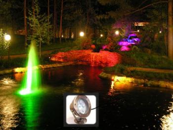 Подсветка струи фонтана в